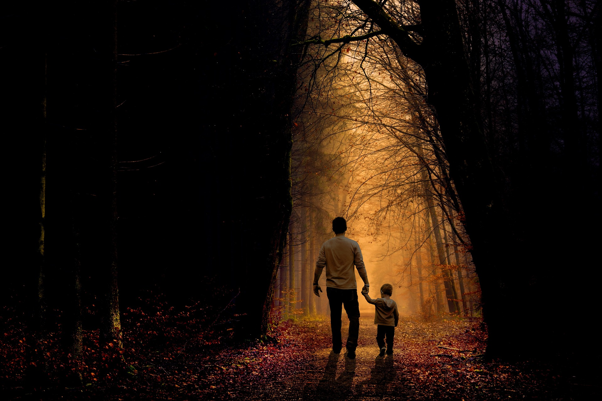 Image of a father holding a child's hand walking through an autumnal forest