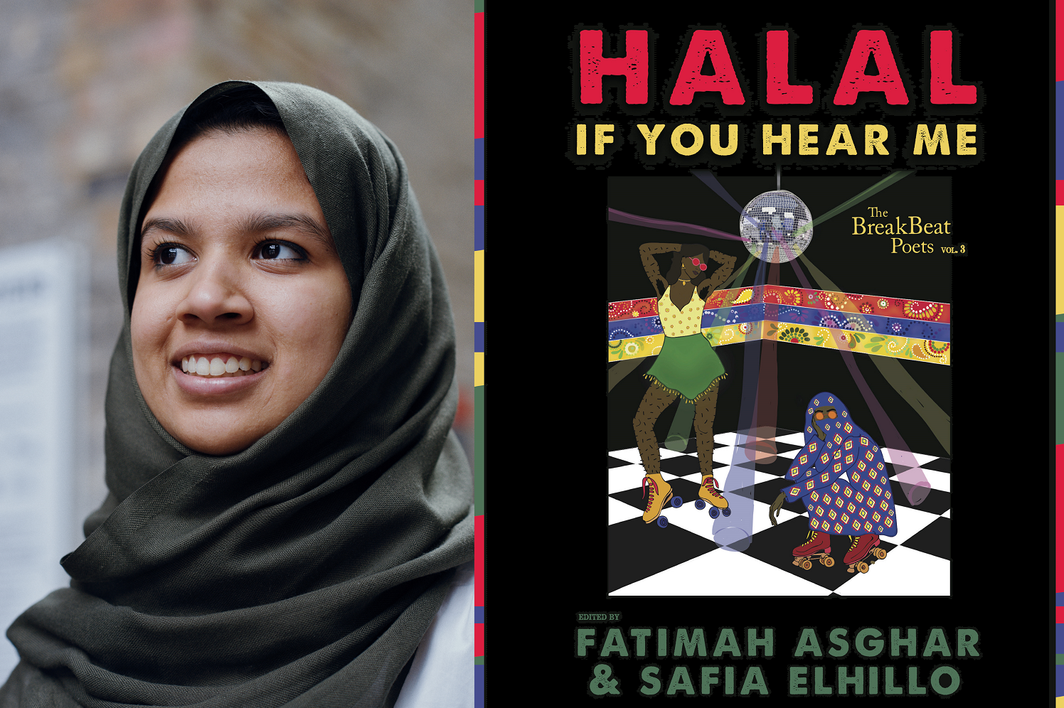 Two photos stitched together: Fathima Zahra on the left, smiling in a hijab, and on the right the cover of 'Halal if you hear me', an anthology