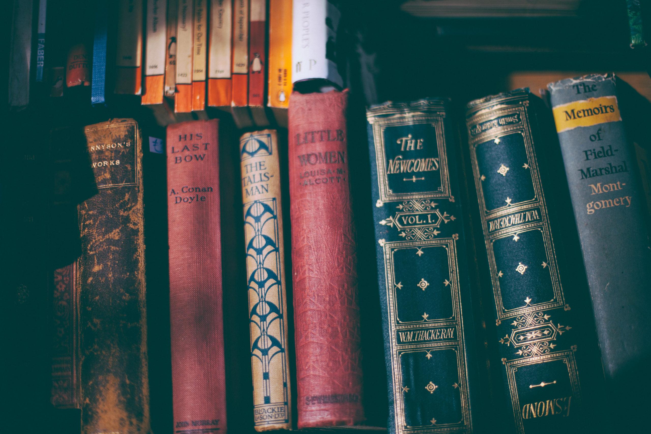 Photo of bookshelf with books such as Little Women, Arthur Conan Doyle etc.