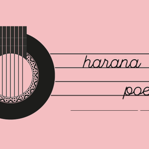 harana poetry logo: a stringed instrument drawn to the left with lines to the right and harana poetry written