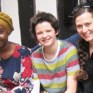 Photo of poet Warda Yassin, young writer Georgie Woodhead and Vicky Morris