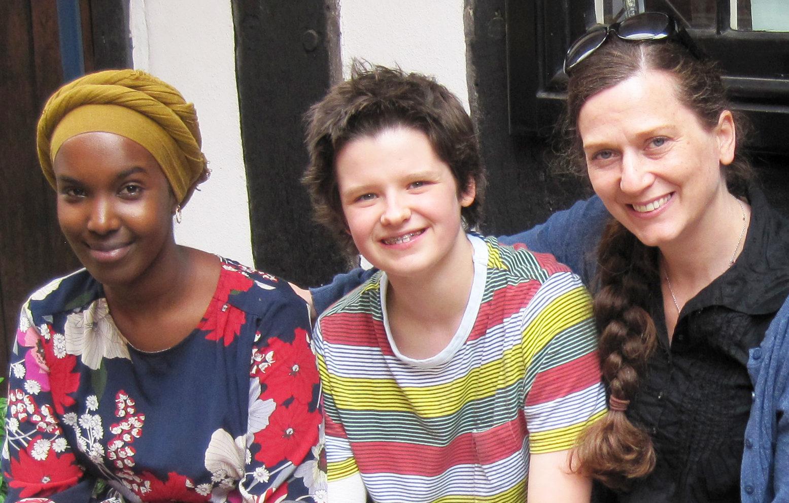 Photo of poet Warda Yassin, young writer Georgie Woodhead and Vicky Morris