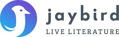 Jaybird Live Literatue logo, with a bird cut out of a blue circle