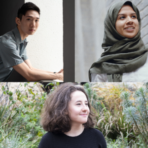 Composite photos of Jerrold Yam, Fathima Zahra and Rachel Lewis