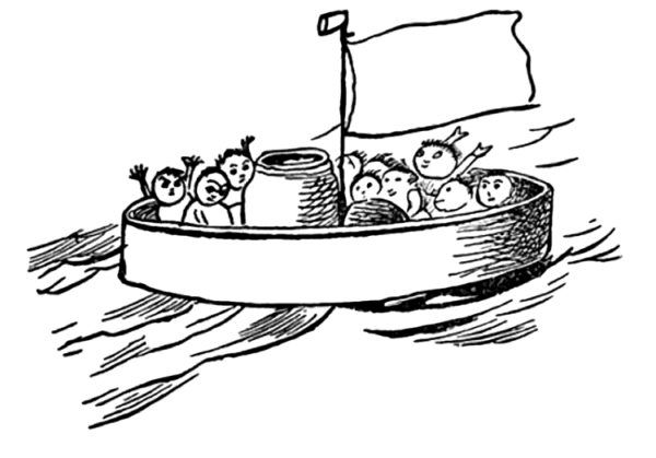 Sketch of the Jumblies in a sieve at sea