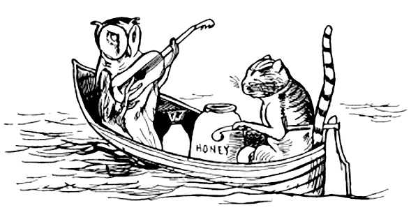 sketch of an owl playing guitar with a pyss-cat eating from a jar of honey, in a boat