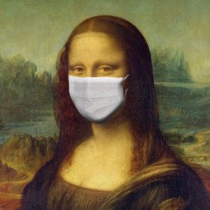 Image of the Mona Lisa wearing a facemask