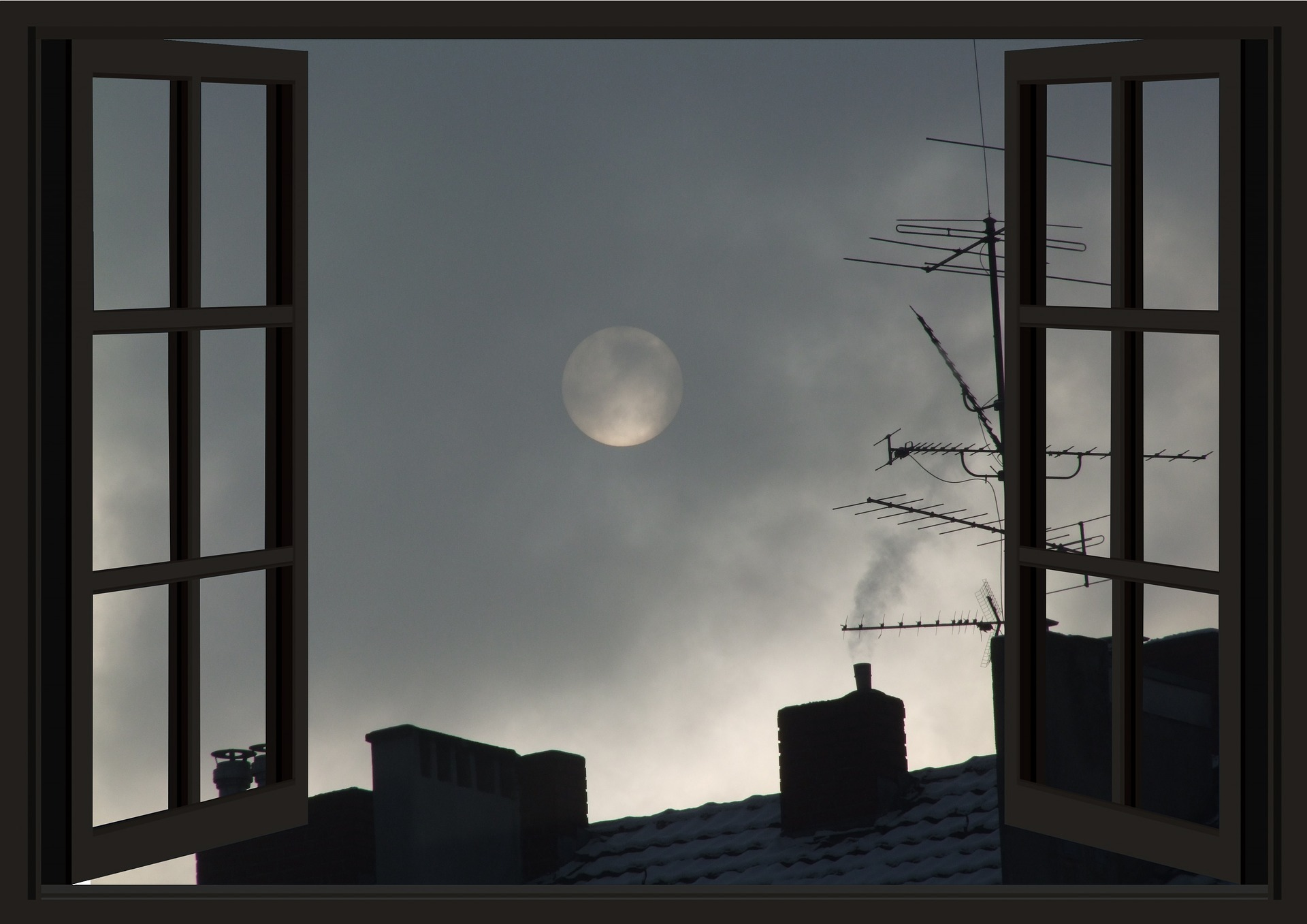 Image of moon seen through window