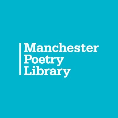 Manchester Poetry Library logo: white text on blue