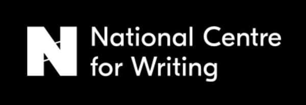 National Centre for Writing logo, white text on black background with a big white N to the left