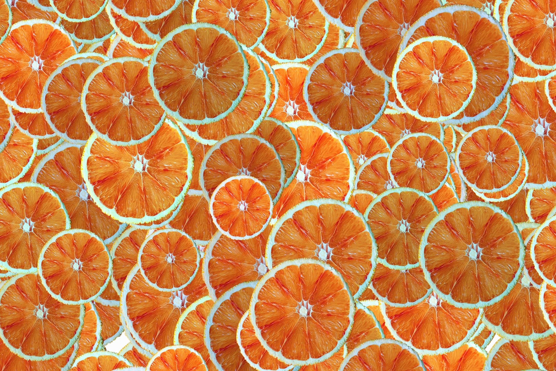 Edited photo of lots of slices of orange repeated