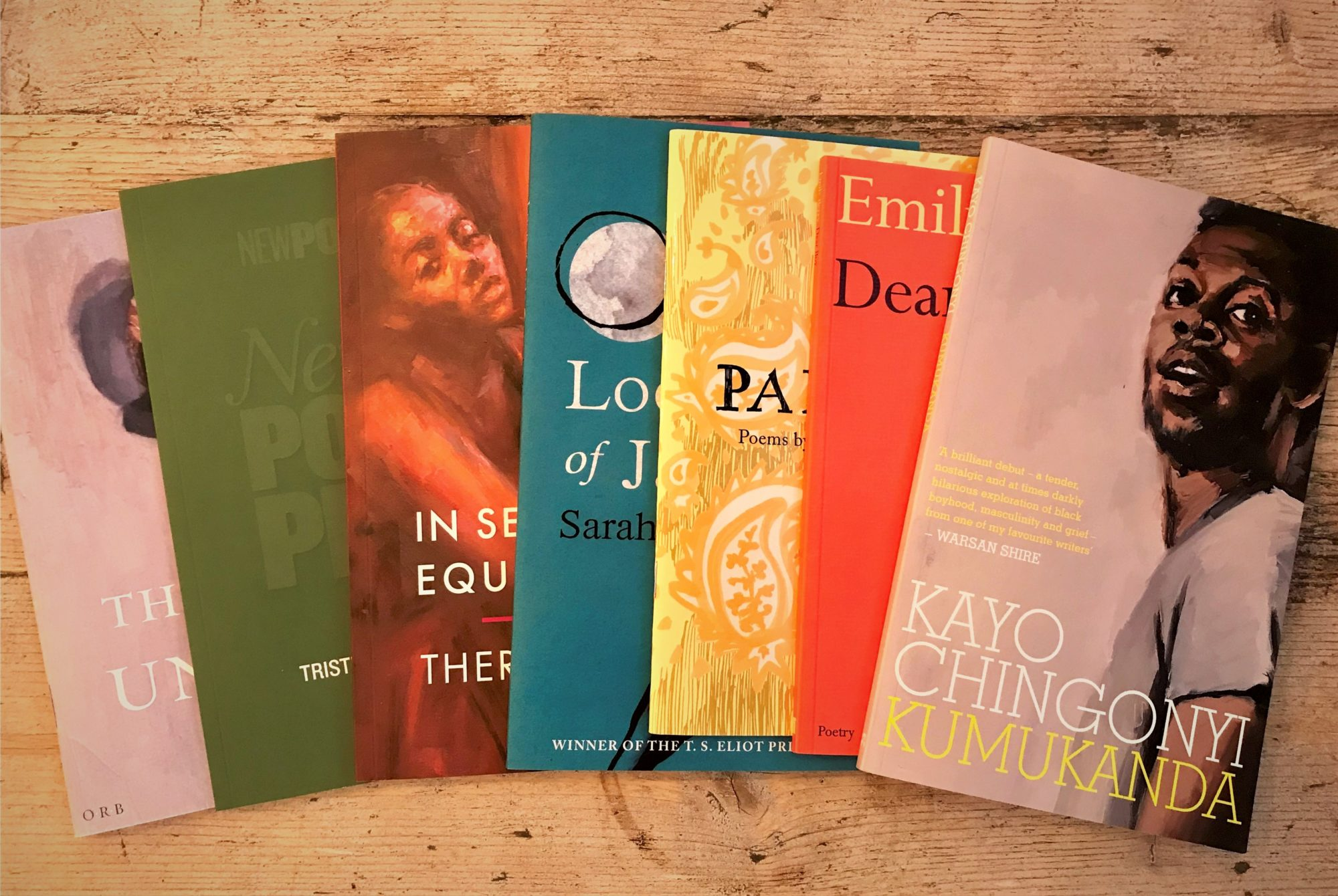 a photo of some first books, including books by Lisa Kiew, Tristram Fane Saunders, Theresa Lola, Sarah Howe, Rakhshan Rizwan, Emily Berry and Kayo Chingonyi