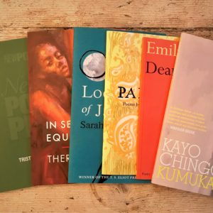 a photo of some first books, including books by Lisa Kiew, Tristram Fane Saunders, Theresa Lola, Sarah Howe, Rakhshan Rizwan, Emily Berry and Kayo Chingonyi