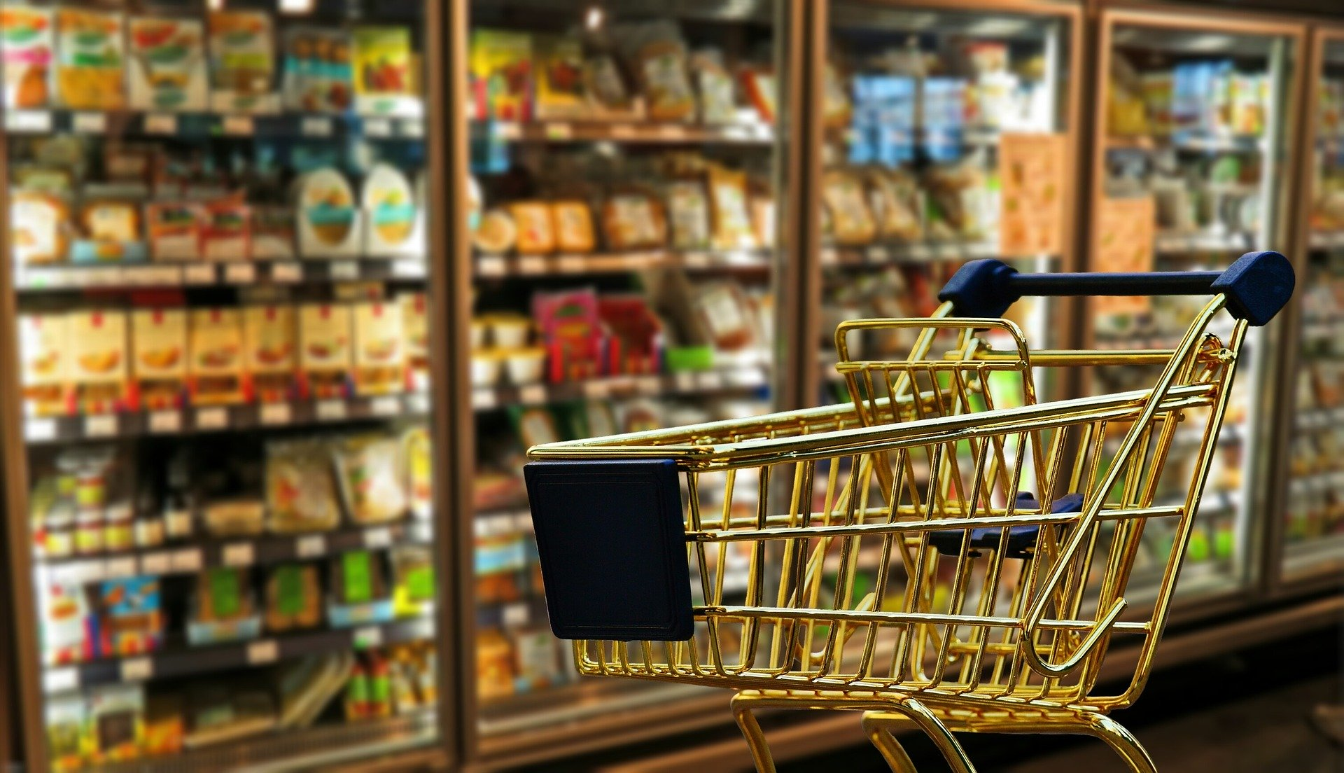 Photo of a supermarket refrigerator aisle with a shopping cart/trolley in the foreground