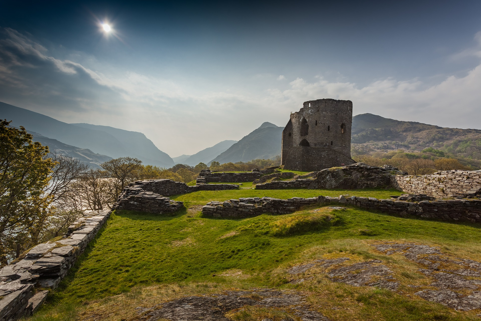 Image of Snowdonia with a tower in the foreground
