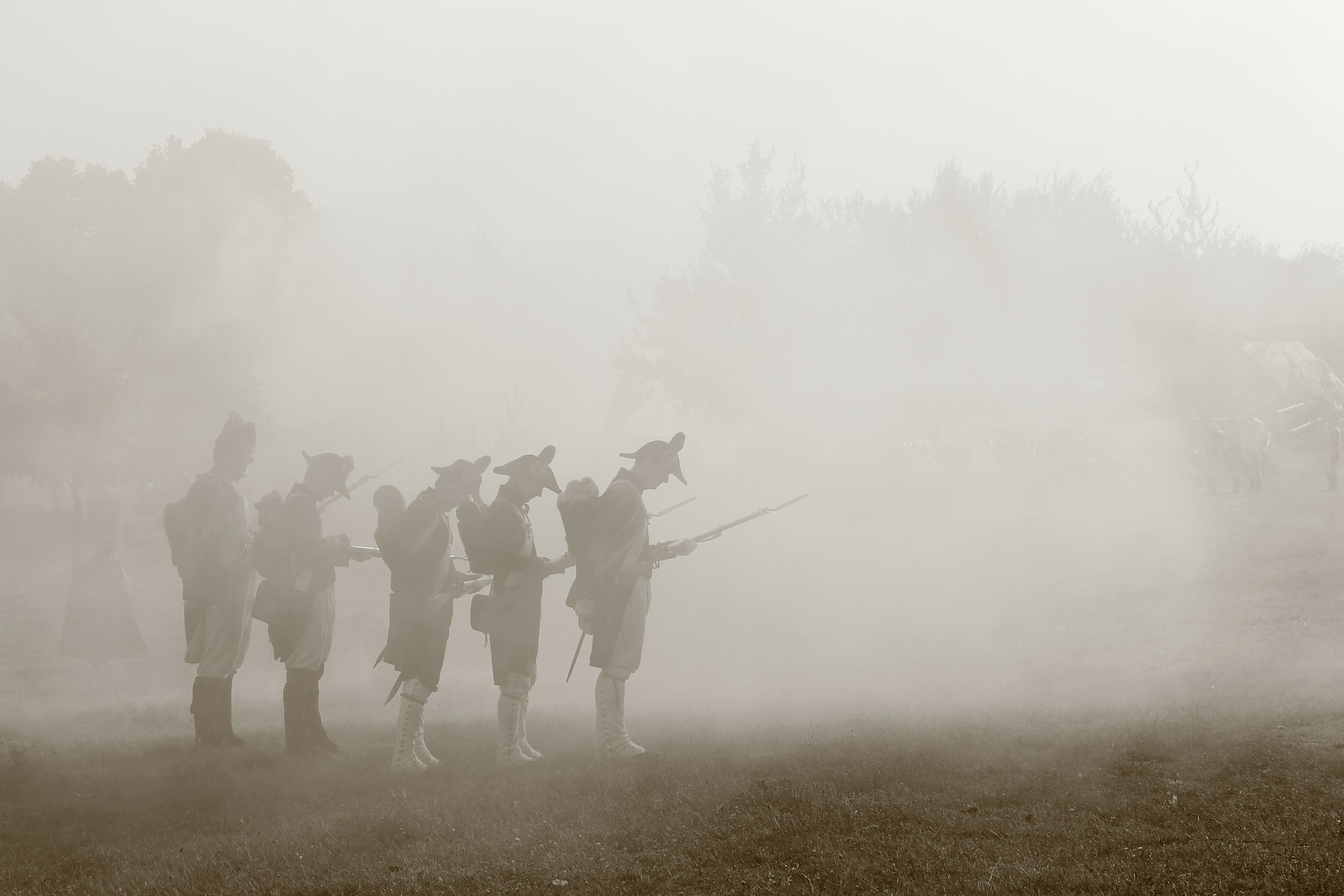 Napoleonic soldiers standing in a mist