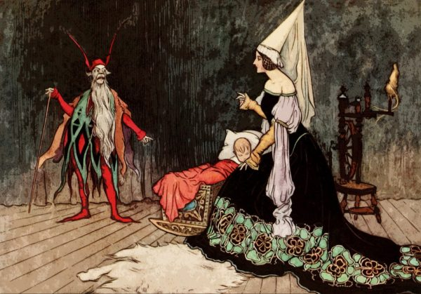 Illustration of a fairy tale-esque scene: a man dressed in red with a beard gestures to a child, while a woman in a long black flowery dress and a princess cone hat looks afraid