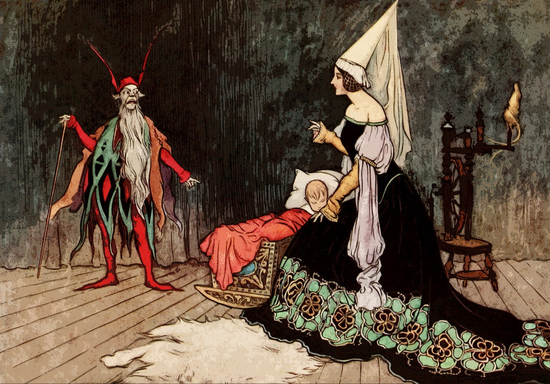Illustration of a fairy tale-esque scene: a man dressed in red with a beard gestures to a child, while a woman in a long black flowery dress and a princess cone hat speaks back to him
