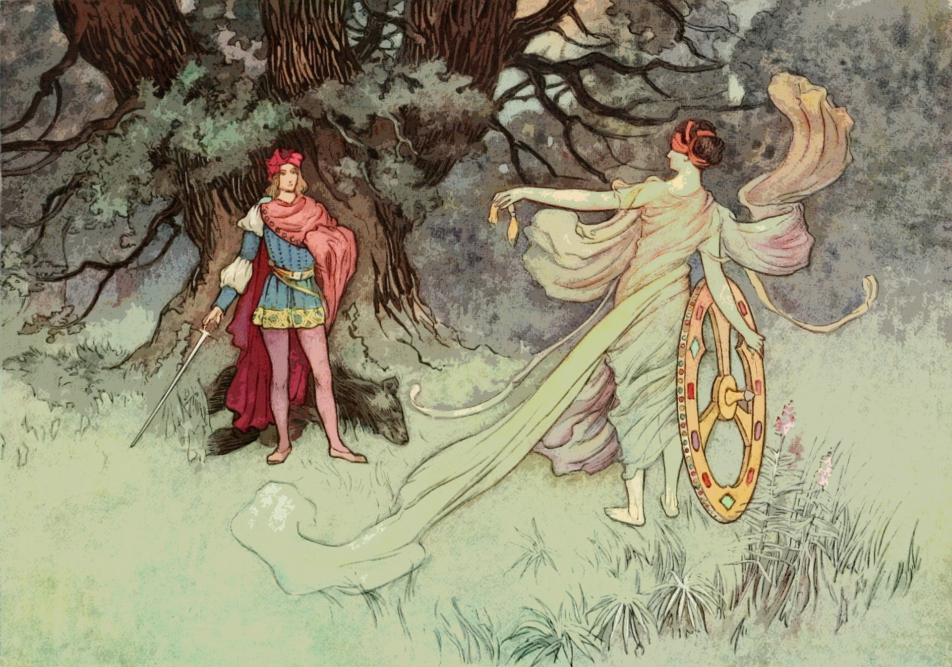 Illustration of another fairy tale esque scene: a man stands before a glarned tree, and a woman (perhaps a spirit) gestures to him with her clothes whirling around