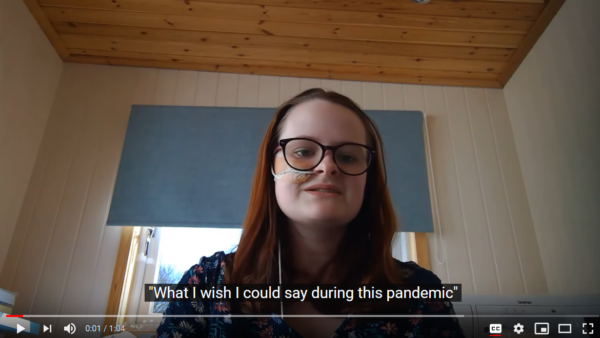 Screenshot of a YouTube video: young poet Hannah Hodgson is performing her poem 'What I wish I could say during this pandemic'